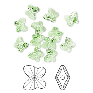 bead, swarovski crystals, crystal passions, peridot, 6x5mm faceted butterfly (5754). sold per pkg of 144 (1 gross).