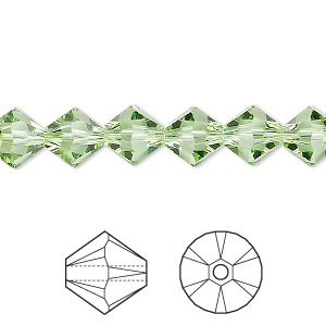 bead, swarovski crystals, crystal passions, peridot, 8mm xilion bicone (5328). sold per pkg of 72.