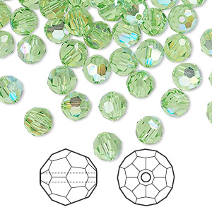 bead, swarovski crystals, crystal passions, peridot ab, 6mm faceted round (5000). sold per pkg of 144 (1 gross).