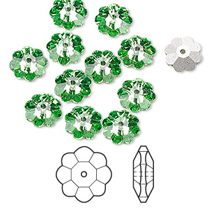 bead, swarovski crystals, crystal passions, peridot, foil back, 8x3mm faceted marguerite lochrose flower (3700). sold per pkg of 12.