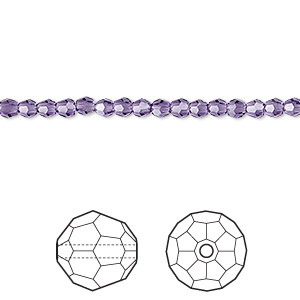 bead, swarovski crystals, crystal passions, purple velvet, 3mm faceted round (5000). sold per pkg of 12.
