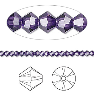 bead, swarovski crystals, crystal passions, purple velvet, 3mm xilion bicone (5328). sold per pkg of 48.