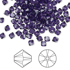 bead, swarovski crystals, crystal passions, purple velvet, 4mm xilion bicone (5328). sold per pkg of 144 (1 gross).