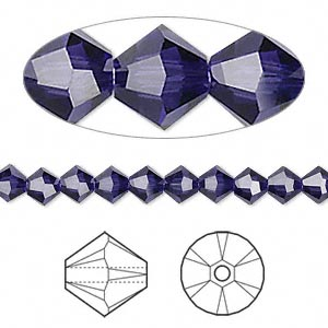 bead, swarovski crystals, crystal passions, purple velvet, 5mm xilion bicone (5328). sold per pkg of 144 (1 gross).