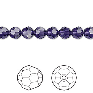 bead, swarovski crystals, crystal passions, purple velvet, 6mm faceted round (5000). sold per pkg of 12.