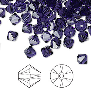 bead, swarovski crystals, crystal passions, purple velvet, 6mm xilion bicone (5328). sold per pkg of 144 (1 gross).