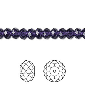 bead, swarovski crystals, crystal passions, purple velvet, 6x4mm faceted rondelle (5040). sold per pkg of 144 (1 gross).
