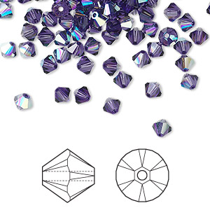 bead, swarovski crystals, crystal passions, purple velvet ab, 4mm xilion bicone (5328). sold per pkg of 48.