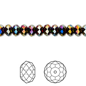 bead, swarovski crystals, crystal passions, rainbow dark 2x, 6x4mm faceted rondelle (5040). sold per pkg of 144 (1 gross).