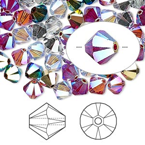 bead, swarovski crystals, crystal passions, rock star, 6mm xilion bicone (5328). sold per pkg of 24.