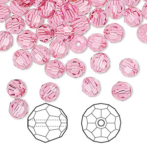 bead, swarovski crystals, crystal passions, rose, 6mm faceted round (5000). sold per pkg of 144 (1 gross).
