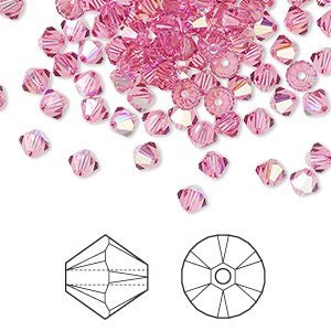 bead, swarovski crystals, crystal passions, rose ab, 4mm xilion bicone (5328). sold per pkg of 144 (1 gross).