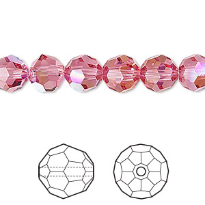 bead, swarovski crystals, crystal passions, rose ab, 8mm faceted round (5000). sold per pkg of 12.