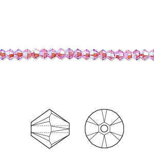 bead, swarovski crystals, crystal passions, rose ab2x, 3mm xilion bicone (5328). sold per pkg of 144 (1 gross).
