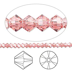 bead, swarovski crystals, crystal passions, rose peach, 3mm xilion bicone (5328). sold per pkg of 144 (1 gross).