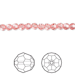 bead, swarovski crystals, crystal passions, rose peach, 4mm faceted round (5000). sold per pkg of 12.