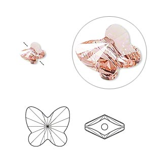 bead, swarovski crystals, crystal passions, rose peach, 6x5mm faceted butterfly (5754). sold per pkg of 144 (1 gross).
