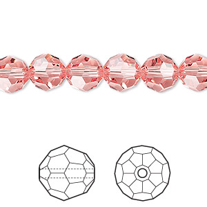 bead, swarovski crystals, crystal passions, rose peach, 8mm faceted round (5000). sold per pkg of 12.