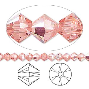 bead, swarovski crystals, crystal passions, rose peach ab, 4mm xilion bicone (5328). sold per pkg of 144 (1 gross).