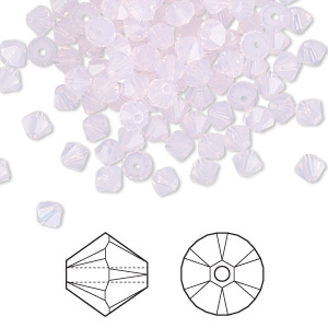 bead, swarovski crystals, crystal passions, rose water opal, 4mm faceted bicone (5301). sold per pkg of 144 (1 gross).