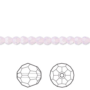 bead, swarovski crystals, crystal passions, rose water opal, 4mm faceted round (5000). sold per pkg of 12.