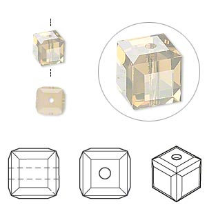 bead, swarovski crystals, crystal passions, sand opal, 6x6mm faceted cube (5601). sold per pkg of 6.