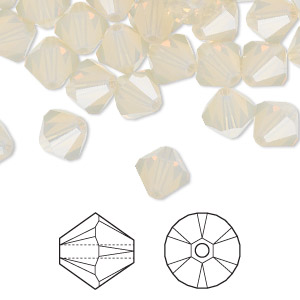 bead, swarovski crystals, crystal passions, sand opal, 8mm faceted bicone (5301). sold per pkg of 72.