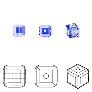bead, swarovski crystals, crystal passions, sapphire, 6x6mm faceted cube (5601). sold per pkg of 6.