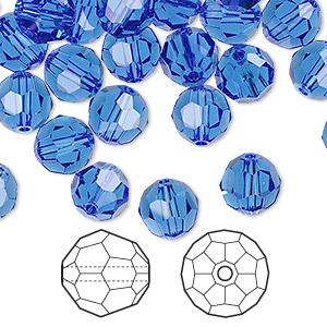 bead, swarovski crystals, crystal passions, sapphire, 8mm faceted round (5000). sold per pkg of 144 (1 gross).
