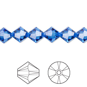 bead, swarovski crystals, crystal passions, sapphire, 8mm xilion bicone (5328). sold per pkg of 12.