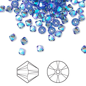 bead, swarovski crystals, crystal passions, sapphire ab2x, 4mm xilion bicone (5328). sold per pkg of 48.