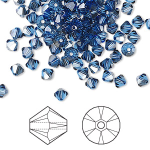 bead, swarovski crystals, crystal passions, sapphire satin, 4mm xilion bicone (5328). sold per pkg of 144 (1 gross).