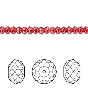 bead, swarovski crystals, crystal passions, scarlet, 4x3mm faceted rondelle (5040). sold per pkg of 144 (1 gross).