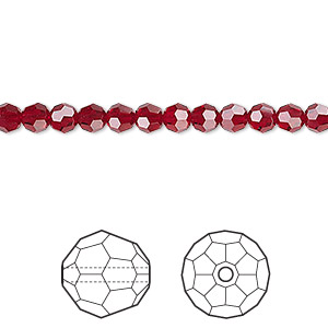 bead, swarovski crystals, crystal passions, siam, 4mm faceted round (5000). sold per pkg of 12.