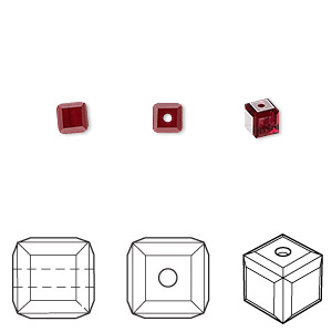 bead, swarovski crystals, crystal passions, siam, 4x4mm faceted cube (5601). sold per pkg of 12.