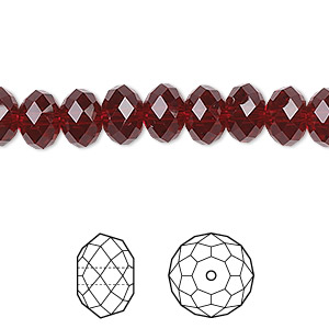 bead, swarovski crystals, crystal passions, siam, 8x6mm faceted rondelle (5040). sold per pkg of 12.