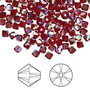 bead, swarovski crystals, crystal passions, siam ab, 4mm xilion bicone (5328). sold per pkg of 48.