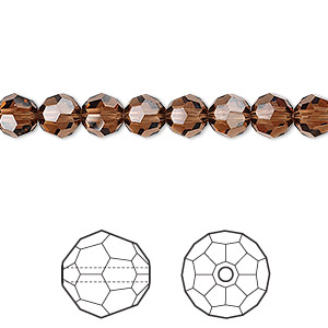 bead, swarovski crystals, crystal passions, smoked topaz, 6mm faceted round (5000). sold per pkg of 12.