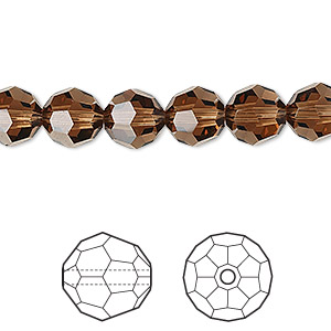 bead, swarovski crystals, crystal passions, smoked topaz, 8mm faceted round (5000). sold per pkg of 12.