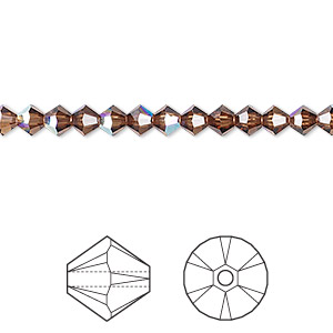 bead, swarovski crystals, crystal passions, smoked topaz ab, 4mm xilion bicone (5328). sold per pkg of 48.