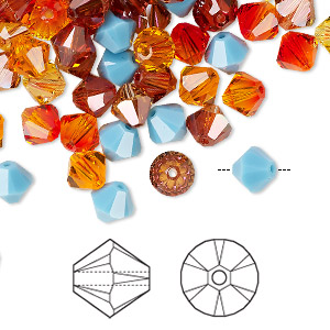 bead, swarovski crystals, crystal passions, sonoran, 6mm xilion bicone (5328) and faceted bicone (5301). sold per pkg of 24.