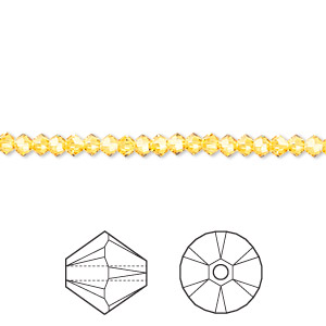 bead, swarovski crystals, crystal passions, sunflower, 3mm xilion bicone (5328). sold per pkg of 48.