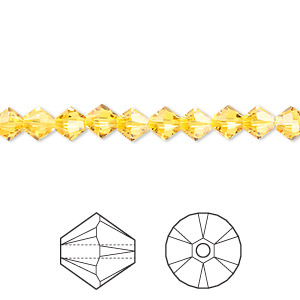 bead, swarovski crystals, crystal passions, sunflower, 5mm xilion bicone (5328). sold per pkg of 24.