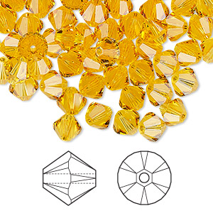 bead, swarovski crystals, crystal passions, sunflower, 6mm xilion bicone (5328). sold per pkg of 360.