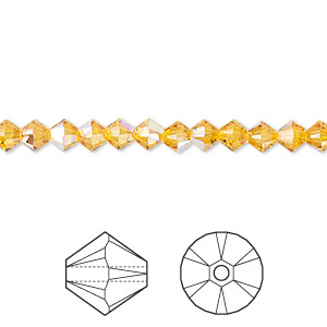 bead, swarovski crystals, crystal passions, sunflower ab, 4mm xilion bicone (5328). sold per pkg of 48.