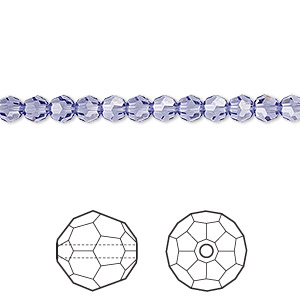 bead, swarovski crystals, crystal passions, tanzanite, 4mm faceted round (5000). sold per pkg of 12.