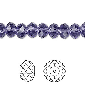 bead, swarovski crystals, crystal passions, tanzanite, 8x6mm faceted rondelle (5040). sold per pkg of 144 (1 gross).