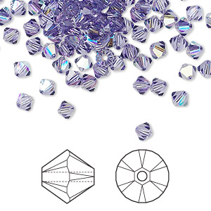 bead, swarovski crystals, crystal passions, tanzanite ab, 4mm xilion bicone (5328). sold per pkg of 144 (1 gross).