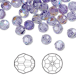 bead, swarovski crystals, crystal passions, tanzanite ab, 6mm faceted round (5000). sold per pkg of 144 (1 gross).