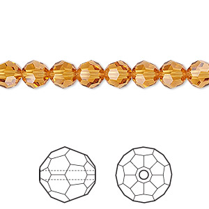 bead, swarovski crystals, crystal passions, topaz, 6mm faceted round (5000). sold per pkg of 12.
